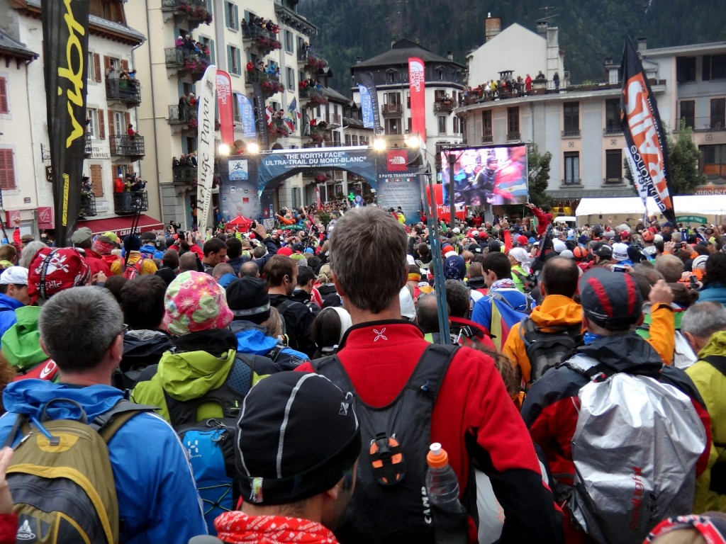 A field of 2,500-plus runners line up at the starting line of the 2012 Ultra Trail du Mont Blanc in Chamonix, France.