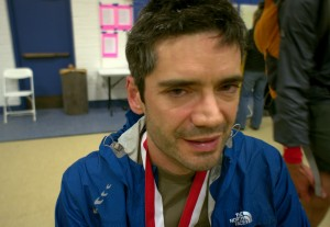 Beat Jegerlehner musters a smile after finishing the 2012 Hardrock 100 in Silverton, Colorado.