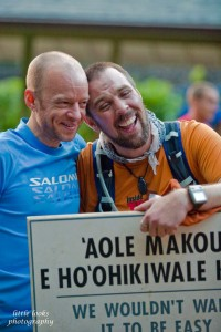 Gary Robbins celebrates with Ken Michal after Michal finished. Photo courtesy of Chuck Little, Little Looks Photography.