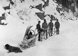Wheelmen who had embraced the bicycle craze of the 1890s believed that the bicycle was a logical vehicle to use in Alaska during the wintertime.