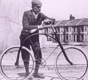 Max Hirschberg with a bicycle he owned before he left Ohio for the Klondike in the late 1890s.