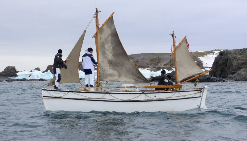 Shackleton Epic expedition crew onboard Alexandra Shackleton in Admiralty Bay. Image credit: Paul Larsen