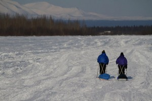 Tim and Loreen Hewitt travel together on the Iditarod Trail. Photo from Abby Hewitt.