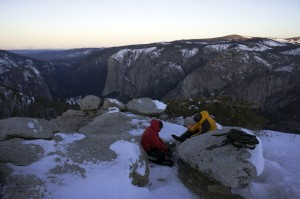 Cooking coffee and breakfast at 15 degrees on top of Sentinel Dome in Yosemite National Park.
