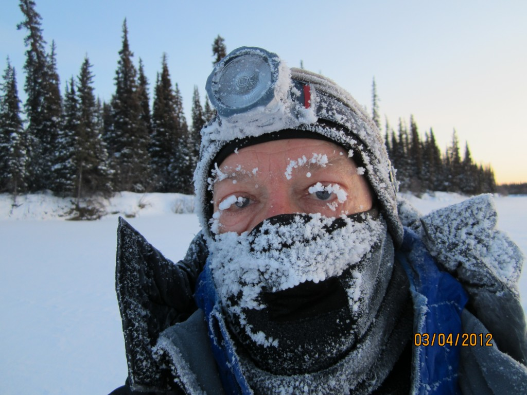 Tim Hewitt takes a self portrait during the 2012 Iditarod Trail Invitational in Alaska. He has said that frozen eyebrows are an indicator that the temperature is lower than 20 below zero.