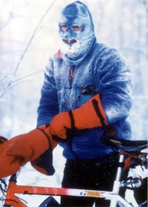 Iceman in the 2001 Iditasport. Photo from Fairbanks Cycle Club.