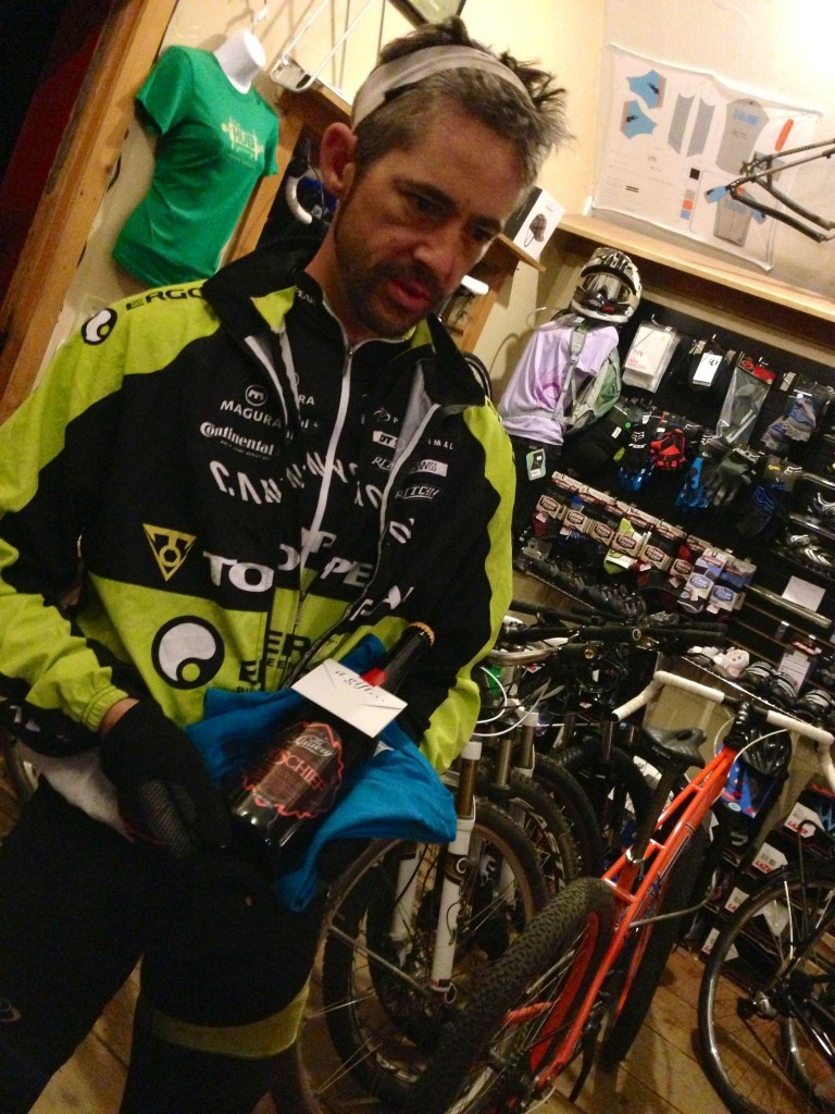 Eddie O'Dea at Hub Cyclery in Idyllwild, California, after he won the Stagecoach 400 in 39 hours and 27 minutes. Photo from Hub Cyclery.