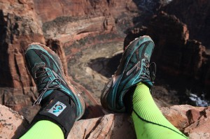 "Nicki Rehn in the Grand Canyon in February, ""Taking the busted ankle where the busted ankle probably shouldn't go."""