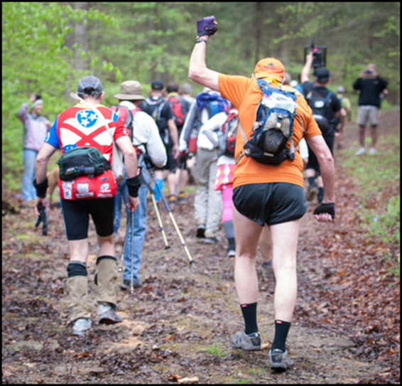 Stu Gleman fist pumps at the start of the Barkley Marathons. Photo © Geoffrey S. Baker, www.geoffreybakerphotography.com.