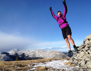Nicki Rehn celebrates on the summit of Prairie Mountain in early March. Photo by Jen Silverthorn.