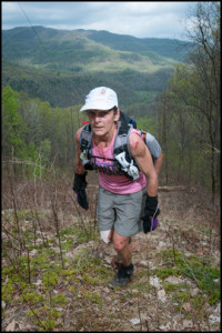 Beverly Anderson-Abs in the lead group on loop 1 at the Testicle Spectacle during the Barkley Marathons in 2012. © Geoffrey S. Baker