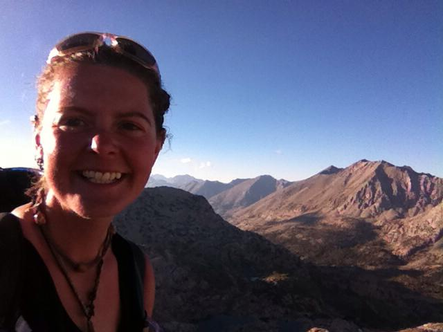 "Heather ""Anish"" Anderson takes a self portrait on top of Glenn Pass in California."