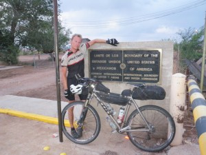 Eric Foster at the finish of the Tour Divide in Antelope Wells.