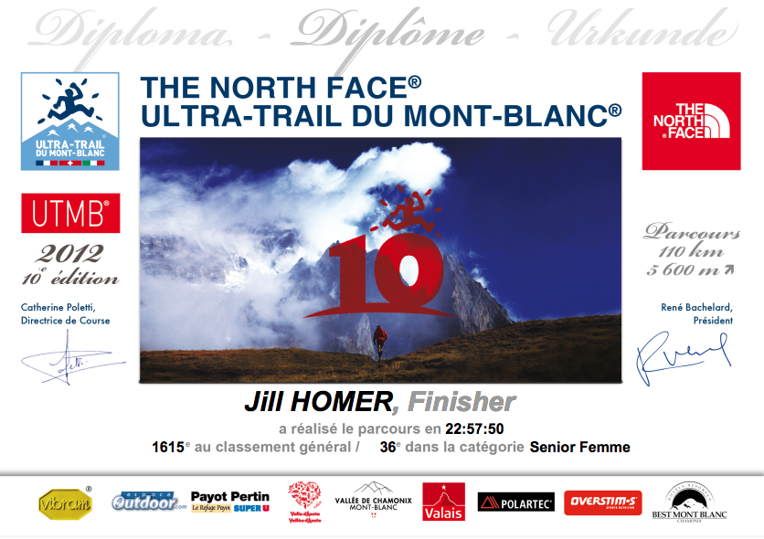 I received this digital certificate for finishing the 2012 UTMB. You don't even receive that much if you finish PTL.