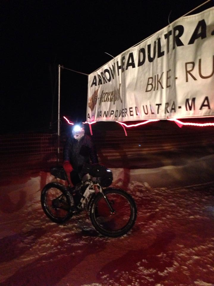 Jay Petervary at the finish of the 135-mile race across Northern Minnesota. Photo by Arrowhead 135.