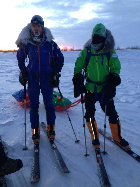 John Cantor and Evan Howard make a brief stop in the village of Noatak during the first few days of what is expected to be a two-month, 1,700-kilometer traverse of the Brooks Range.