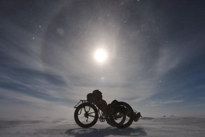 Maria Leijerstam rides her custom recumbent tricycle in Antarctica.